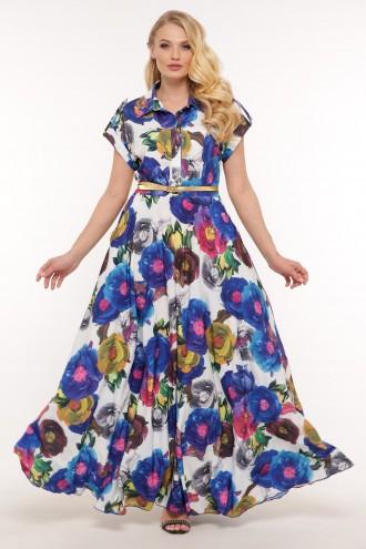 Платье Алена электрик цветы