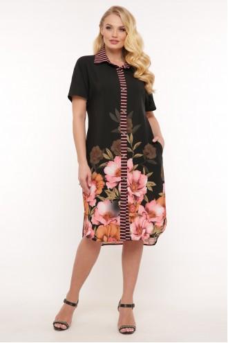 Платье-рубашка Сати цветы