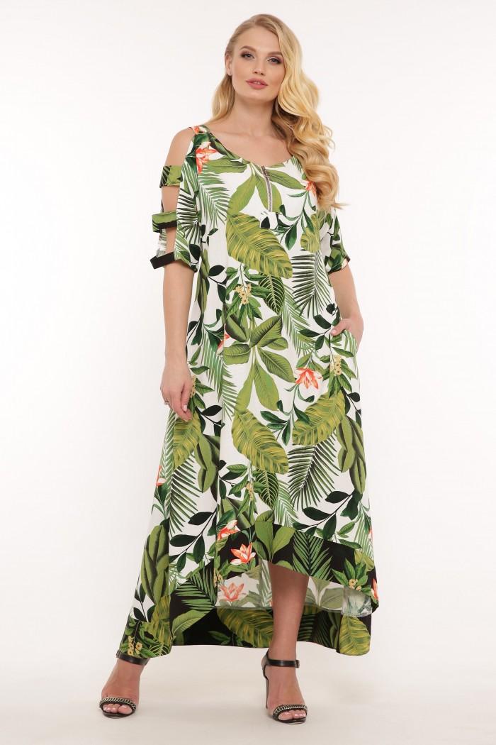 Платье Тропикана белое принт