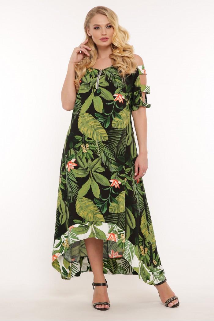 Платье Тропикана черное принт