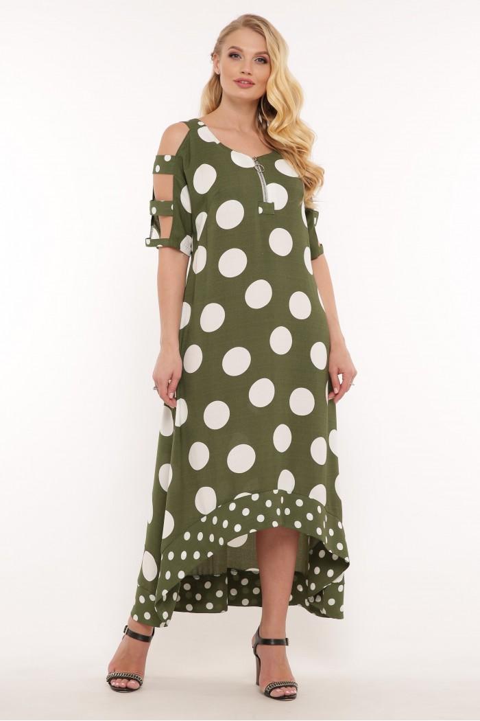 Платье Тропикана зеленое горох