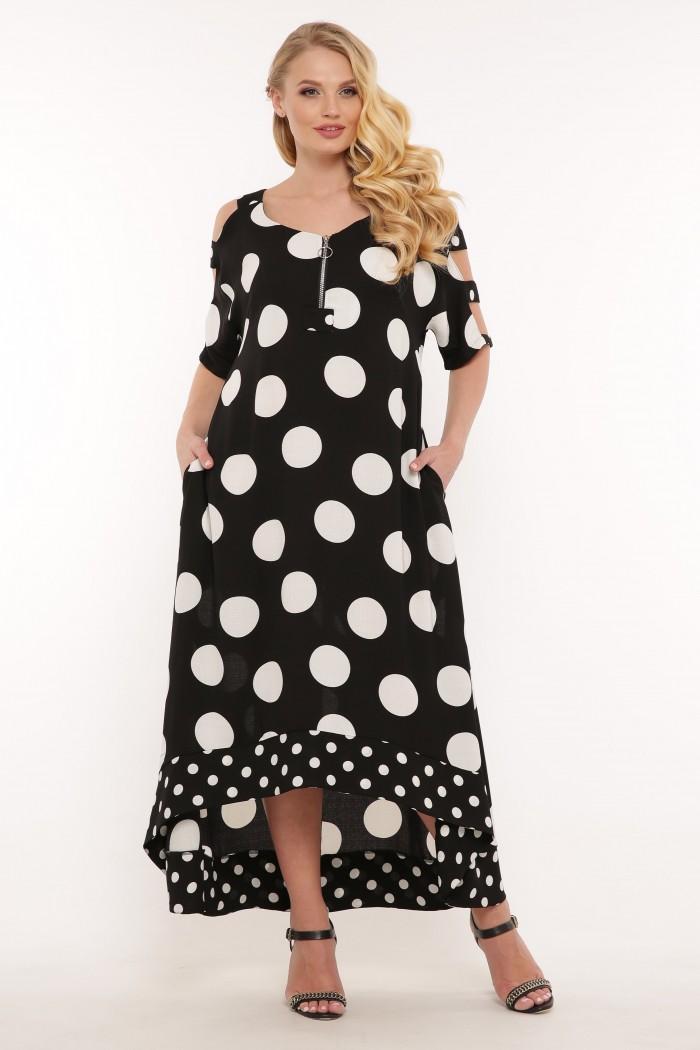 Платье Тропикана черное горох