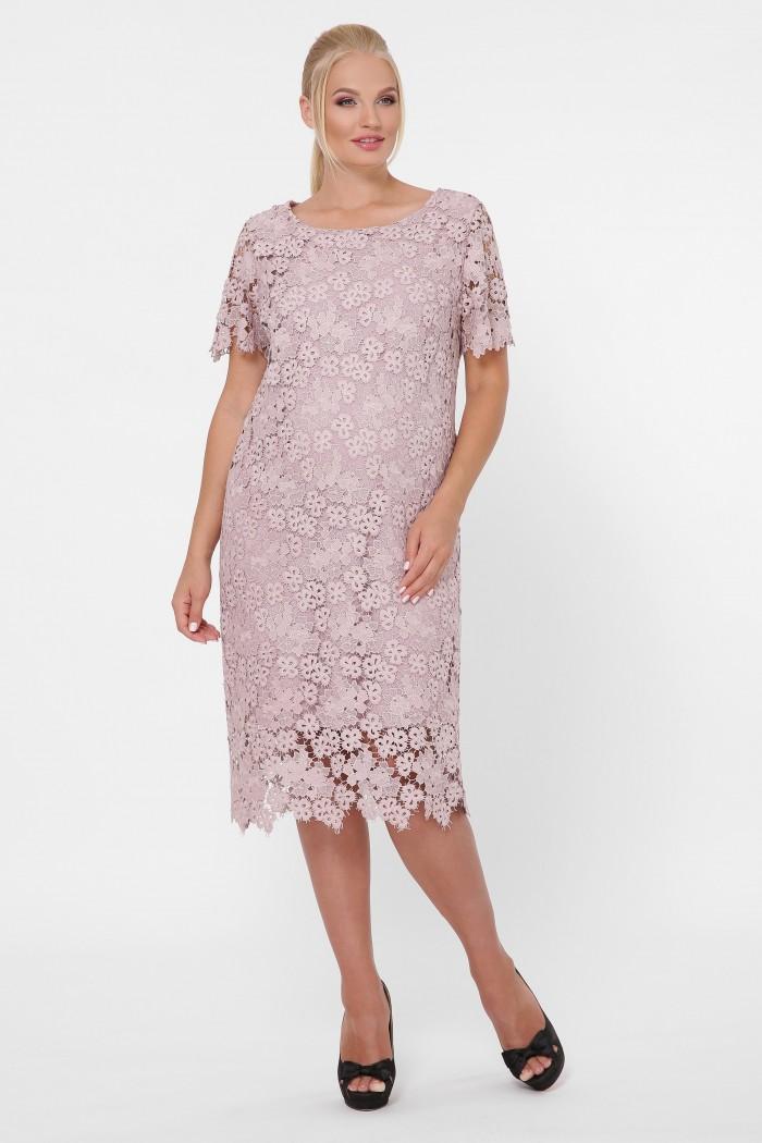 Платье кружевное Элен беж мелкие цветы