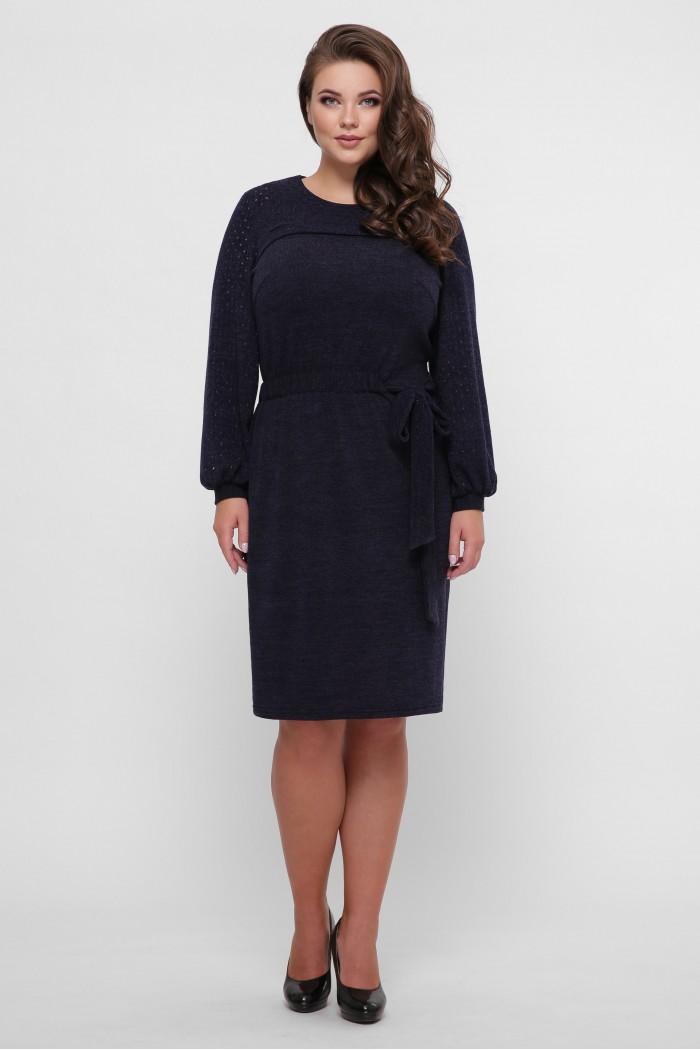 Платье вязаное Эмили синее