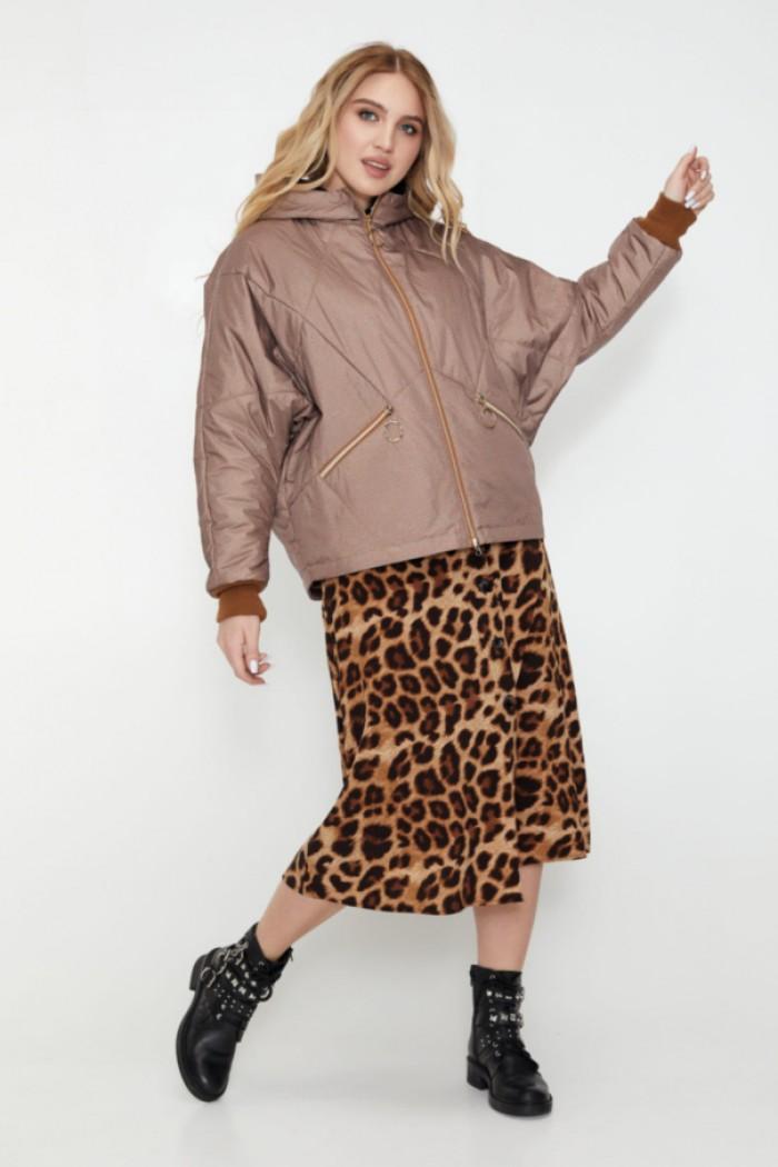 Женская демисезонная куртка Бомбер шоколад