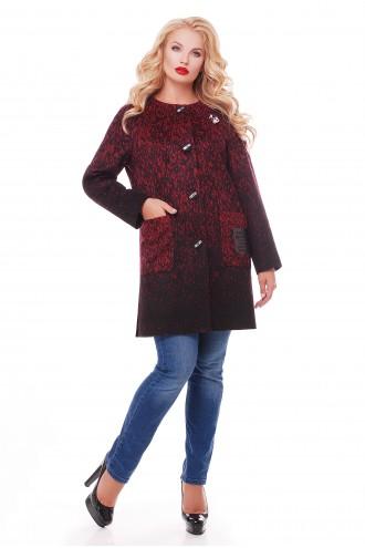 Женское пальто кашемир бордо