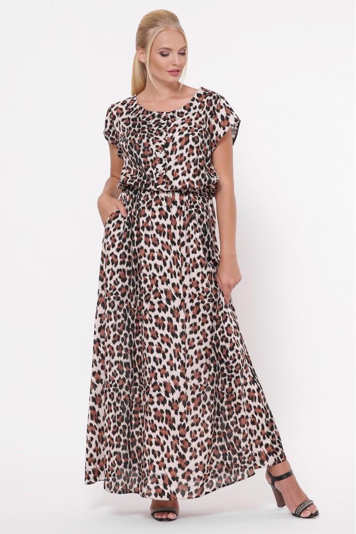 Платье Влада светлый леопард