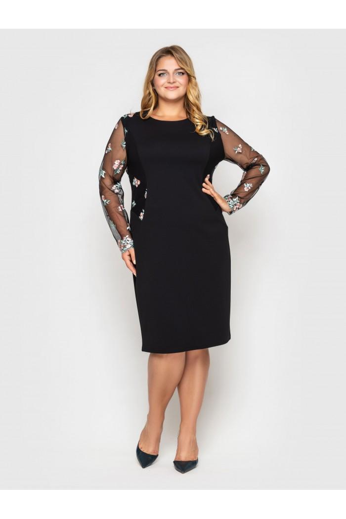 Нарядное платье Адель черное цветок пудра