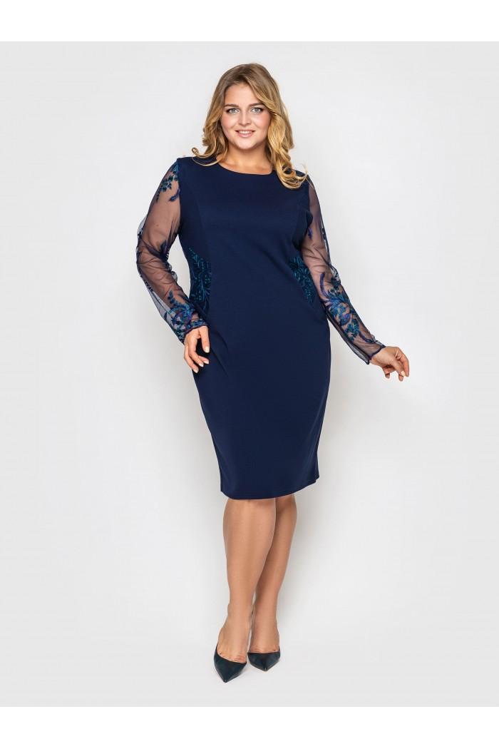 Нарядное платье Адель синее завитки