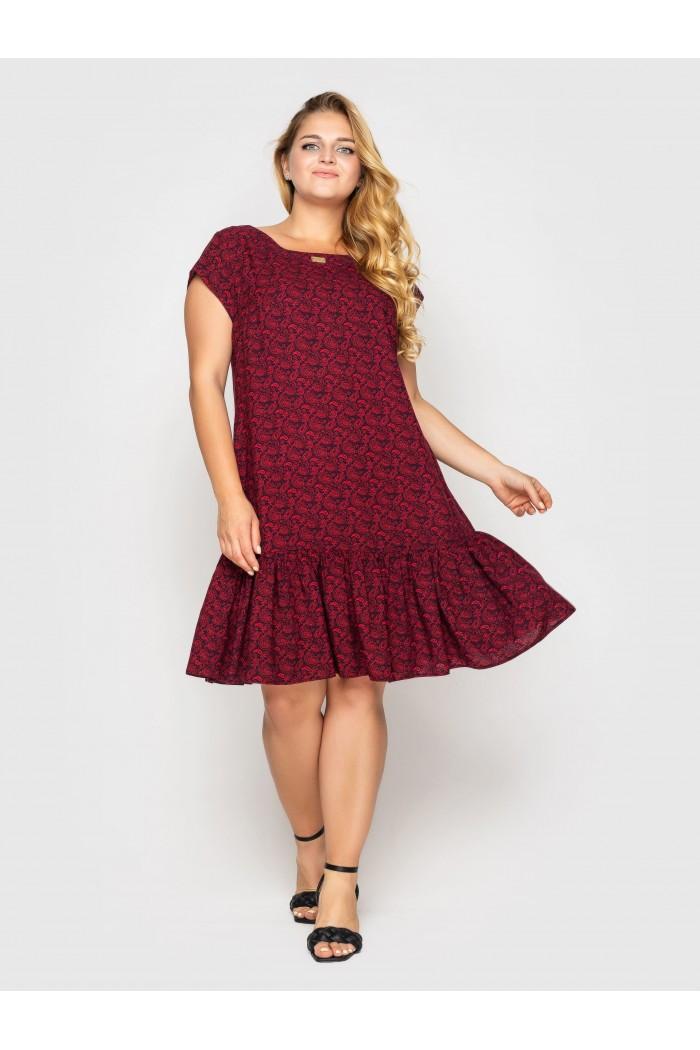 Платье Яна бордо завитки