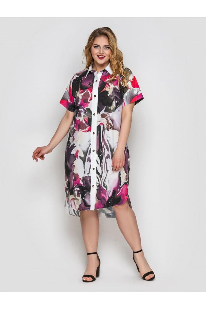 Платье-рубашка Саті акварель