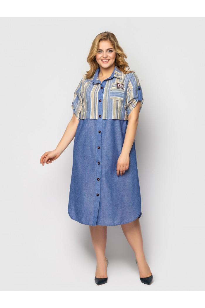 Платье-рубашка Лана пудра