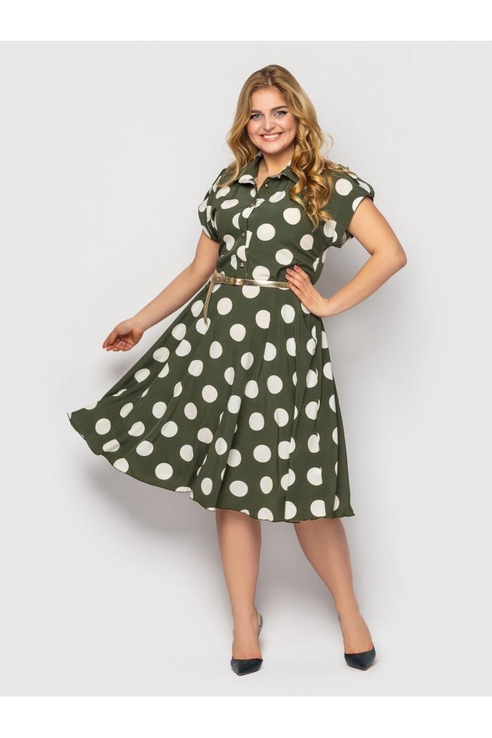 Платье Альмира оливка горох