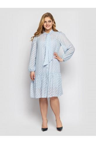 Платье с длинным рукавом Эра голубое