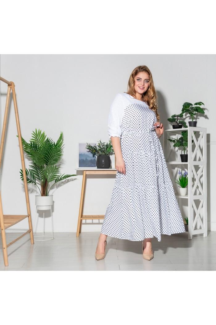 Платье Росава белое горох