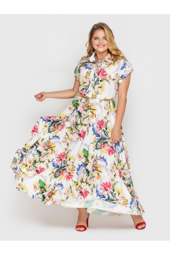 Платье Алена гортензия белое
