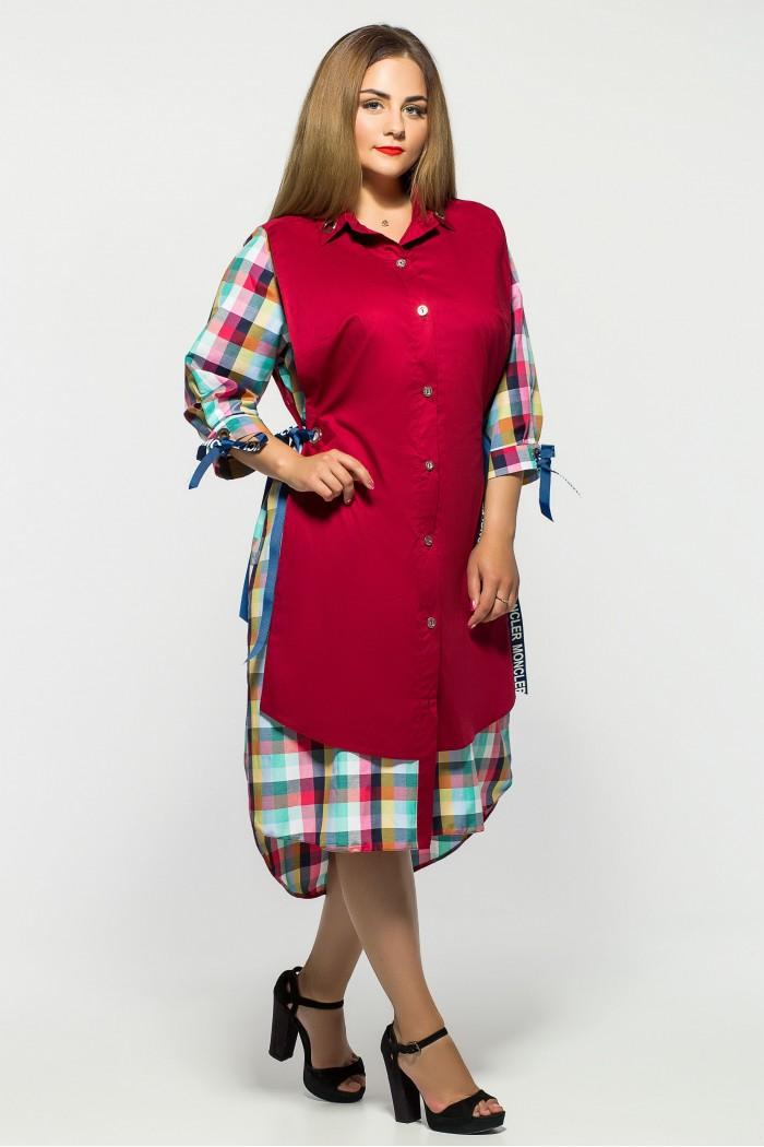 Платье Евгения Бордо Клетка