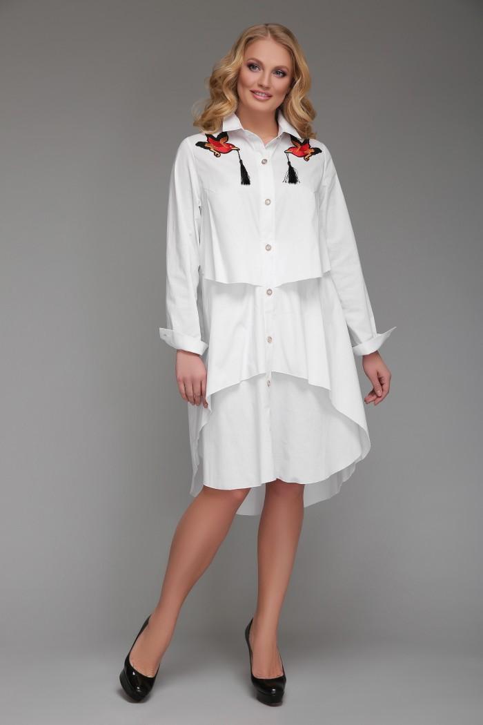 Платье-рубашка Троя Белое