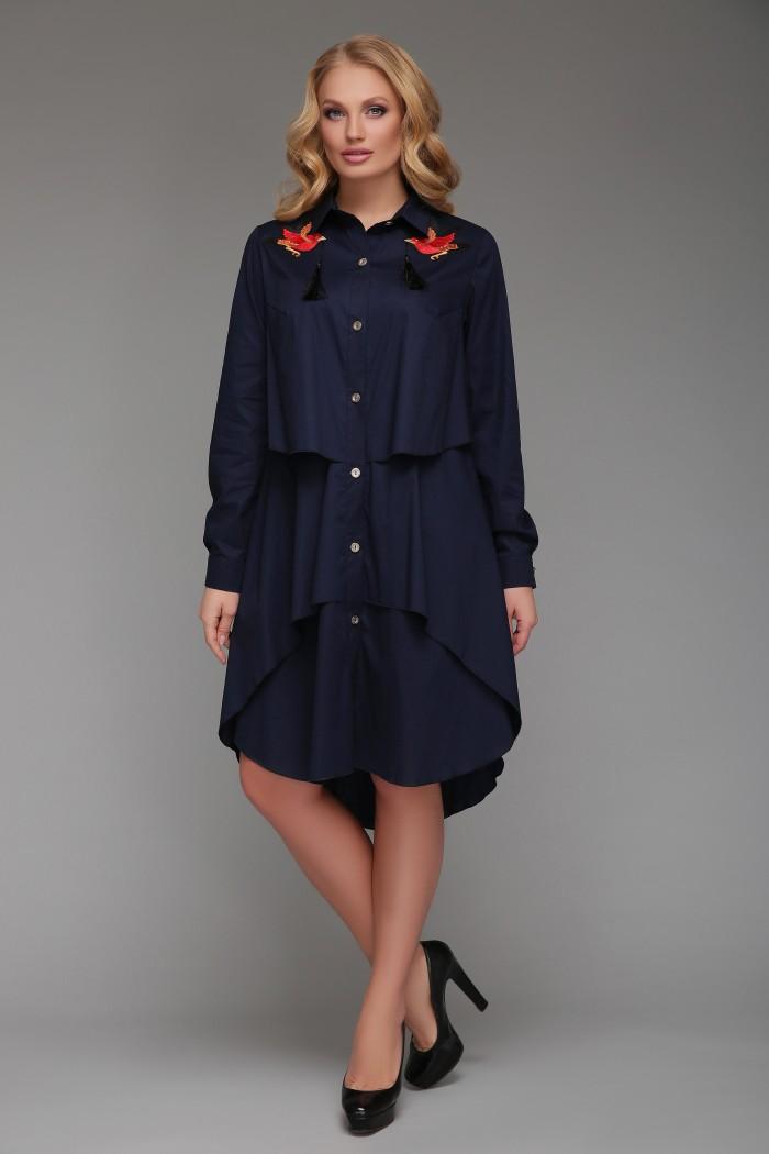 Платье-рубашка Троя Синее