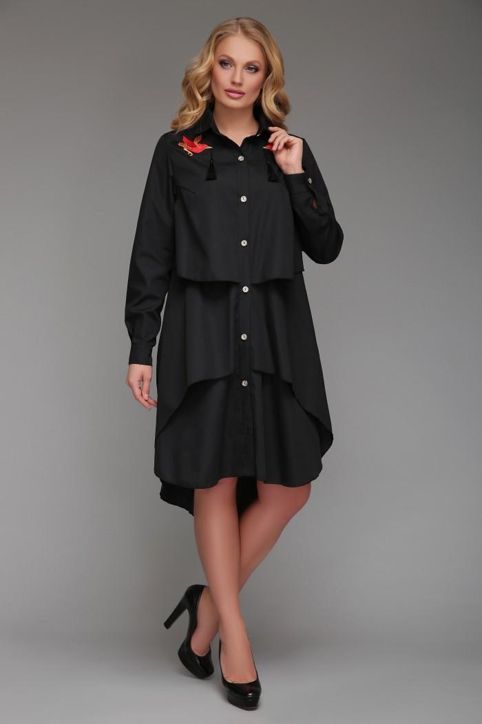 Платье-рубашка Троя Черное