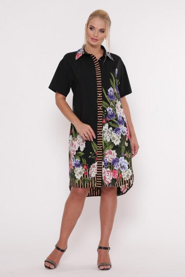 Платье-рубашка Сати Черное
