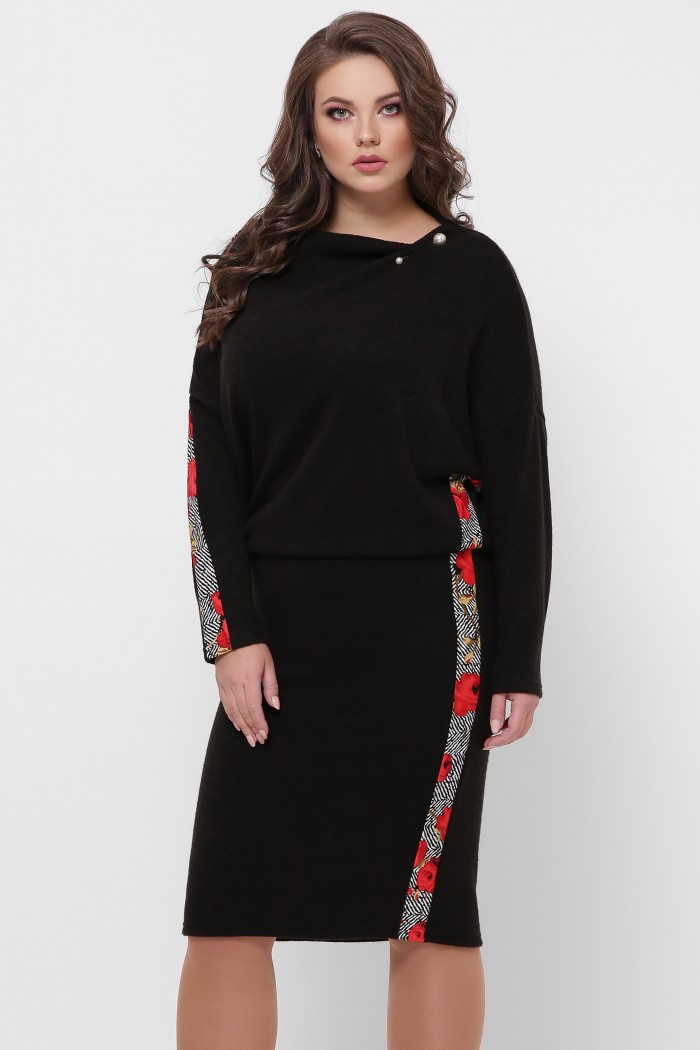 Теплое платье Кристи черное