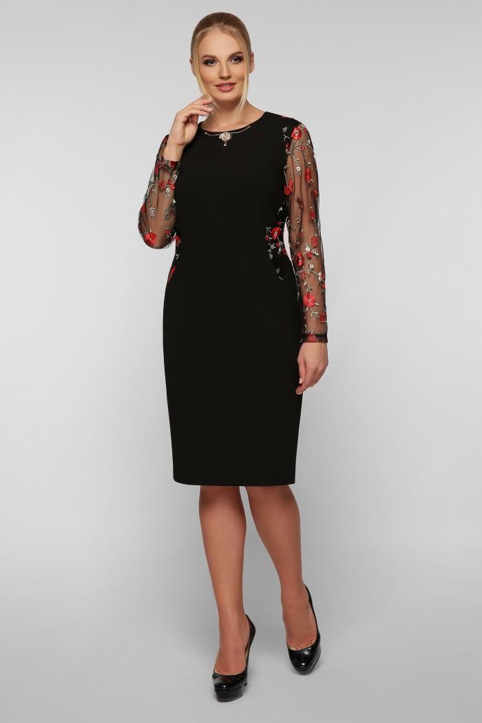 Платье Адель Черное маки