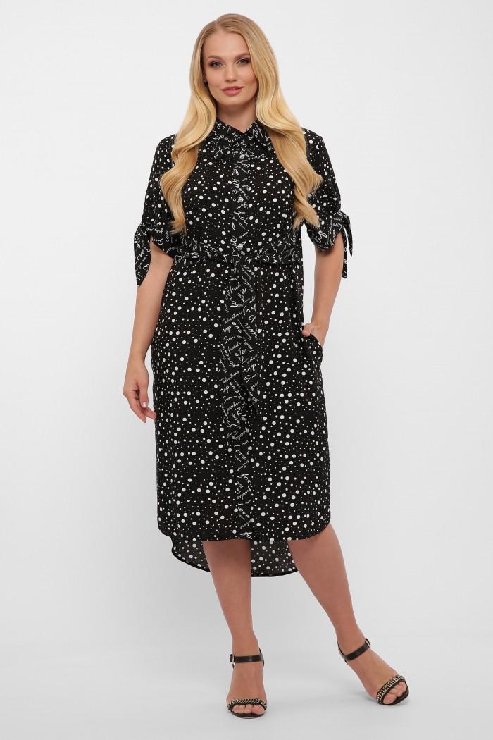 Платье Ева черное горох