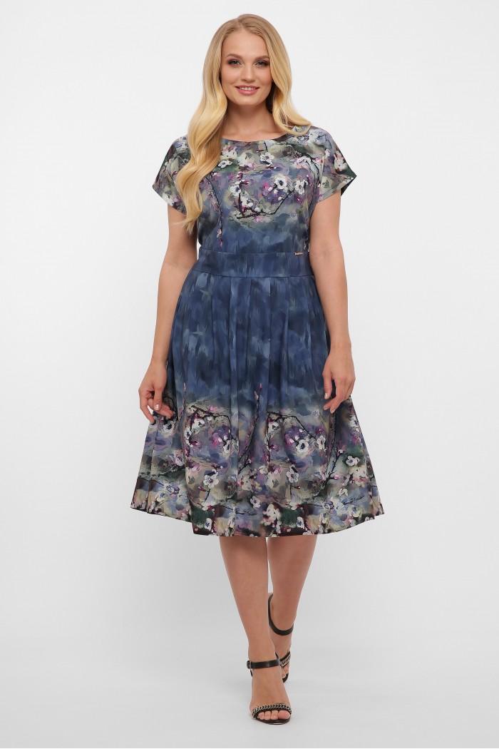 Платье Лорен акварель синее