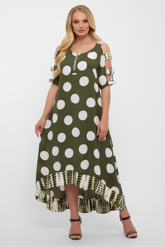 Платье Тропикана зеленое горох New