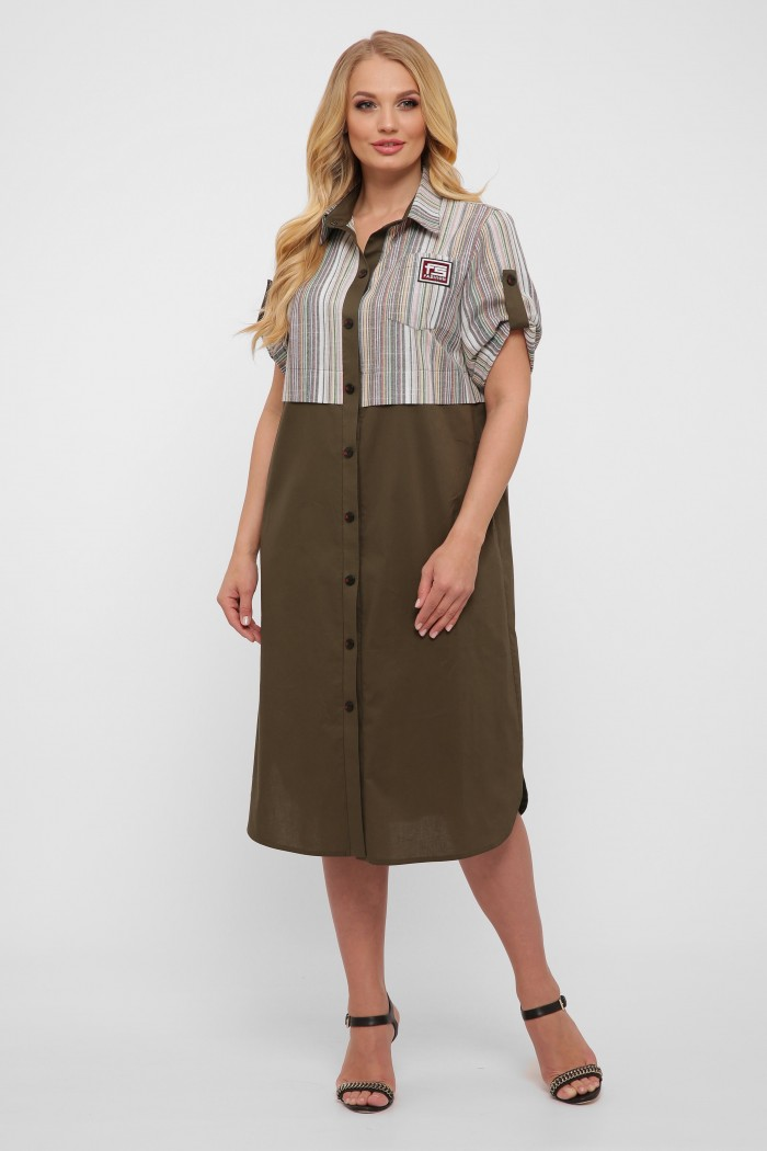 Платье-рубашка Лана оливка new