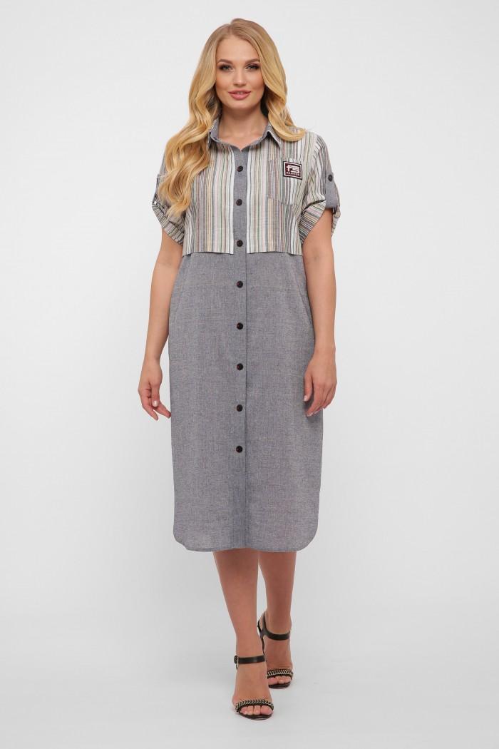 Платье-рубашка Лана серое
