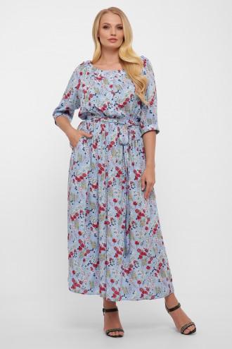 Платье в пол Снежанна голубое