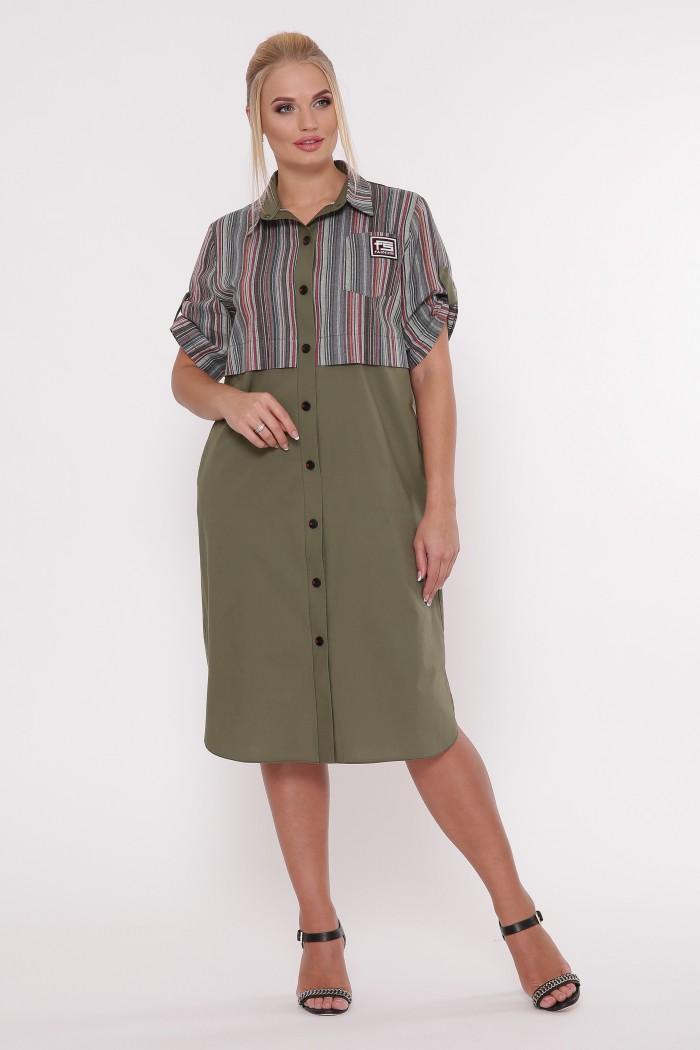 Платье-рубашка Лана оливка