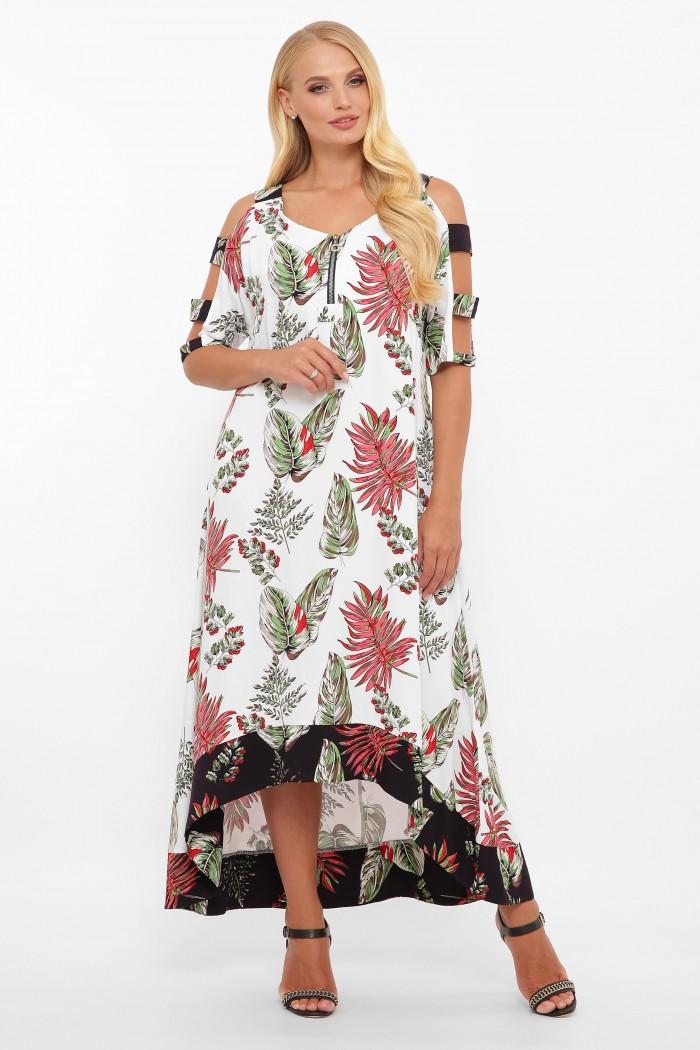 Платье Тропикана белое листья