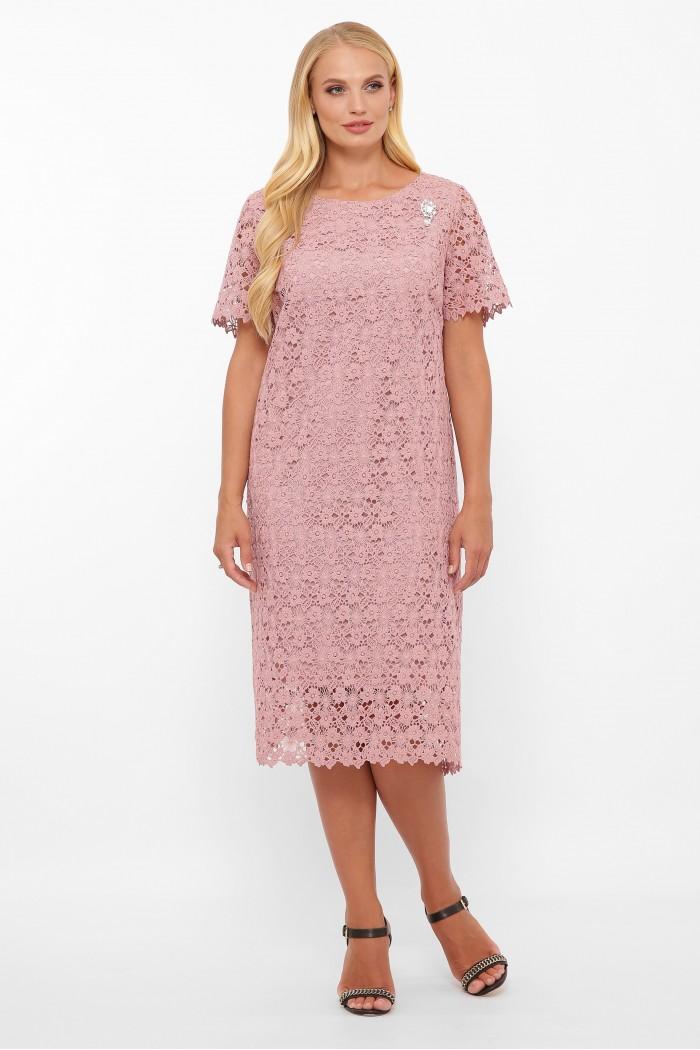 Платье кружевное Элен пудра