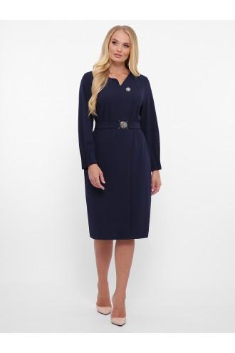 Платье с длинным рукавом Мадина синее