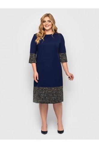 Платье Тереза синее букле разноцвет