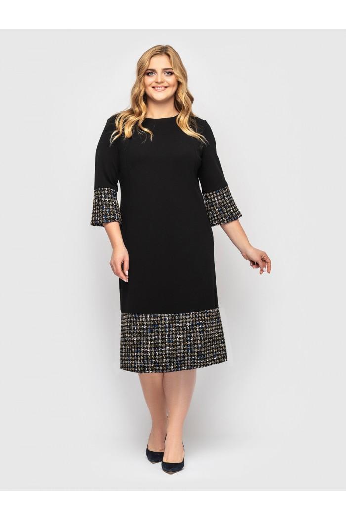 Платье Тереза черное букле разноцвет