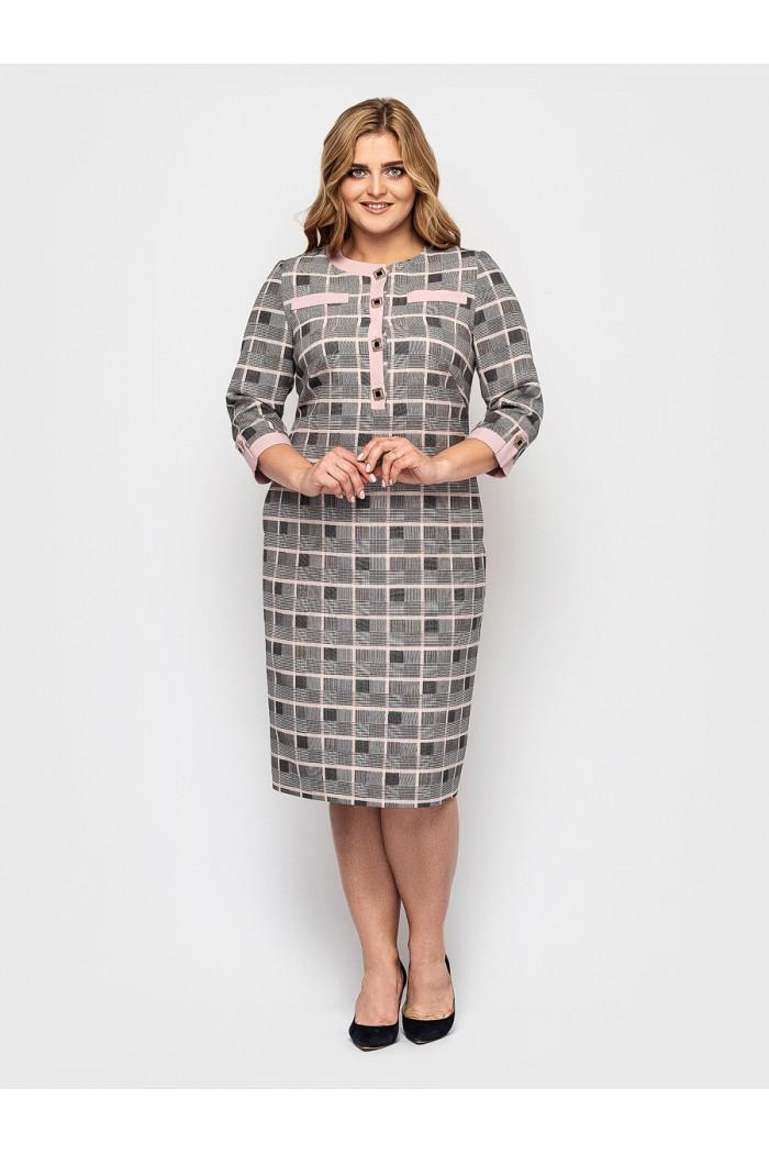 Женское платье Мирра пудра клетка