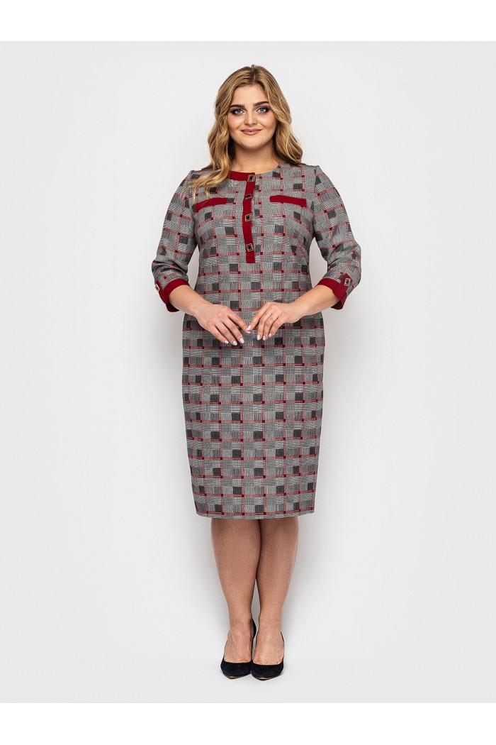 Женское платье Мирра бордо клетка