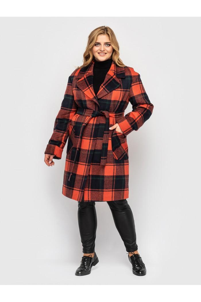 Женское пальто Кира охра клетка