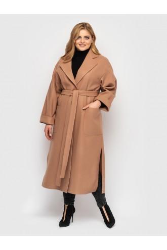 Пальто женское свободного стиля шоколад
